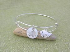 Personalized Silver Adjustable Bangle Name Jade Bead Bird Baby Shower Hen Prom