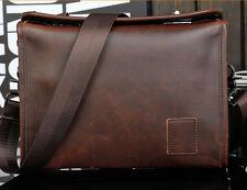 Men's retro Vintage Leather Messenger Shoulder School Satchel Hiking phone  Bag