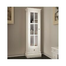 White Wooden Cabinet Storage Glass Bookshelf Living Room Office Classic Style