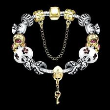 Women Charm 925 Sterling Silver Plated Golden Chain Cuff Bangle Bracelet Jewelry