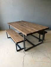 Reclaimed Industrial Chic 6-8 Seater Solid Wood & Metal Dining Table.Bar & Cafe