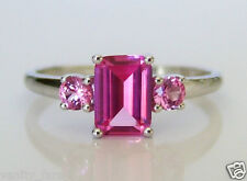 Beautiful 9ct White Gold & Pink Sapphire Ring Size L