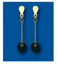 9ct Yellow Gold Real Onyx Ball Drop Earrings Hallmarked British Made