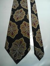 Cellini Men's Vintage Tie in a Gold Brown and Red Retro Geometric Pattern