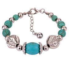 Pretty Tibetan Silver Turquoise Beaded Chain Bracelet Bangle Xmas Present Lady