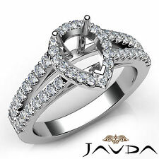 Halo Prong Set Pear Cut Diamond Semi Mount Engagement Ring 14k White Gold 0.75Ct