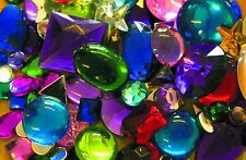 Acrylic Jewels 350grams Bag of Assorted Colour & Size Plastic Flat Backed Shiny