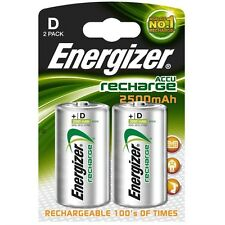 Energizer D Rechargeable Batteries 2 PACK 2500 mAh Battery BRAND NEW