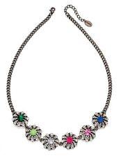 Fiorelli Costume Jewellery Black Rhodium & Rainbow Flower CZ Statement Necklace