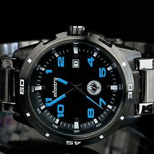 INFANTRY Mens Date Analog Wrist Watch Sport Military Pilot Black Stainless Steel