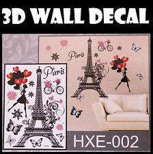 3D Paris Wall Sticker decals Home Decor Decoration Wallpaper Removable Room Art