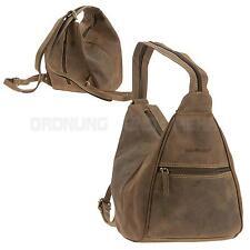 Rucksack Leder GREENBURRY Schultertasche Damenrucksack 2in1 Vintage braun