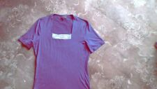Airforce blue T shirt with square patterned neck by Viyella size small