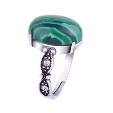 New Fashion Charm Women Antique Silver Plated Retro Green Malachite Ring Jewelry