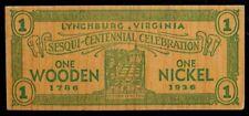 LYNCHBURG VIRGINIA Vintage 1786-1936 Sesqui-Centennial WOODEN NICKEL Dollar
