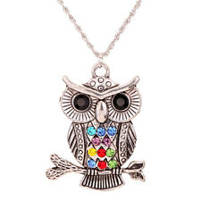 Vogue Jewelry Tibetan Silver Colorful Crystal Owl dangle Pendant Chain Necklace