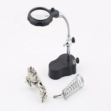 3.5x12X 3rd Helping Hand Clip LED Magnifying Soldering Iron Stand Len Magnifier