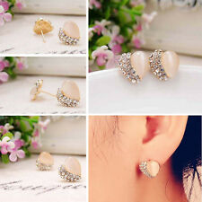 Promotion Fashion Ear Jewelry Trendy Opal Heart Rhinestone Stud Knot Earrings