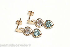 9ct Gold Blue Topaz Double Heart Drop Earrings Gift Boxed Made in UK
