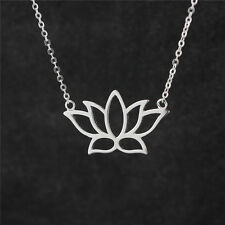 Sterling Silver 925 Open Design Lotus Flower Pendant Chain Necklace