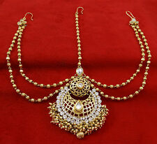 Goldtone Ethnic Traditional Indian Wedding Hair Accessory Matha Patti Jewelry