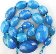 """10x14-20x30mm Drum Faceted Graduated Blue Agate Gemstone Beads 15"""""""