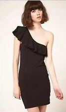 New One Teaspoon Black Tube Dress ft One Shoulder Frill Going Out/Party, Size 10