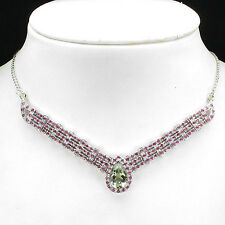 126.16ct GENUINE15x10mm GREEN AMETHYST,RED RUBY STERLING 925 SILVER NECKLACE 17""
