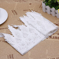 White Floral Lace Trim Crochet Ribbons Bridal Dress Fringe Sewing Crafts 2 Yards