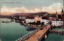 Schiffe 1921 Österreich OÖ Schiff Brücke Stadt gut frankiert und Stempel Gmunden