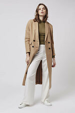 TOPSHOP BNWT Women's Natural Wool Mix Slouch Crombie Camel Long Maxi Coat UKS 8
