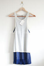 BNWT CELINE layered jersey silk top off white ivory blue sleeveless S fits 6