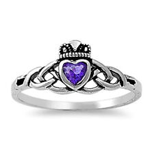 Silver Claddagh CZ Ring Sterling Silver Rhodium Plated Jewelry Amethyst Size 10