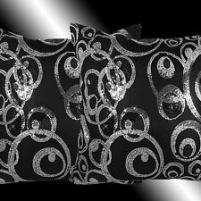 2X ABSTRACT SHINY SILVER BLACK SEQUINS THROW PILLOW CASES CUSHION COVERS 16""