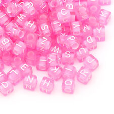 1000PCs Acrylic Spacer Beads Alphabet Letters Carved Cube Pink 6mmx6mm