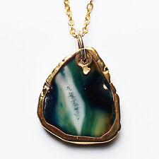 Semi-Precious Natural Stone Agate Slice Pendant on Gold Chain - Blue