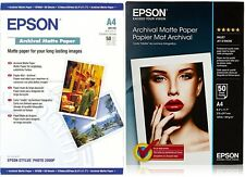 EPSON ARCHIVAL A4 189GSM PREMIUM MATTE FINISH INKJET PHOTO PAPER / 50 SHEETS