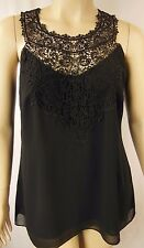 City Chic Black Lace Chiffon Sleeveless Mingle Top Plus Size XS 14 BNWOT CC821