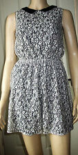 ATMOSPHERE Black Cream Faux Leather Collar Sleeveless Summer Dress Size 10  c12