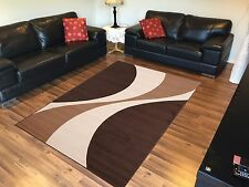 Extra Large Floor Rug Modern Pattern Design 330 x 240 BROWN BEIGE Free Delivery*