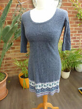 Ladies 3/4 Sleeve Blue/Grey Wool Mix Dress Size 8 with Lined Skirt