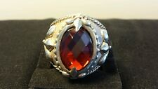 AS NEW STUNNING MENS 925 STERLING SILVER RED AGATE DRESS RING 18.60gms U, 10.25)
