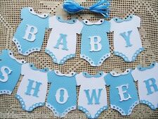 10 Bunting Flags Banners Garland Onesies  BABY SHOWER Blue Boy DIY L6