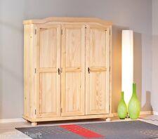 KLEIDERSCHRANK Massivholz - farblos lackiert, mit 3 Türen, abschließbar NEU