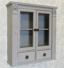 French shabby chic grey painted wooden wall cabinet cupboard