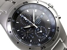 SEIKO MENS CHRONOGRAPH QUARTZ WATCH SND419 SND419P1 TITANIUM BAND GREY WITH BOX