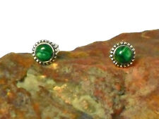 MALACHITE   Sterling  Silver  925   EARRINGS  /  STUDS  -  5 mm  -  Gift  Boxed!