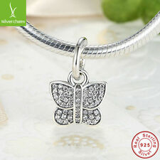 Authentic 925 Sterling Silver Sparkling Butterfly Charm Bracelet Necklace Gift