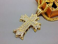 Nice Iced Out Cross Jesus Franco Chain Pendant Gold Plated Hip Hop Necklace FREE