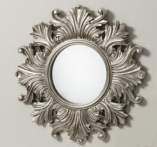 "Regis Traditional Ornate Round Silver Leaf Vintage Wall Mirror - 26"" Diameter"